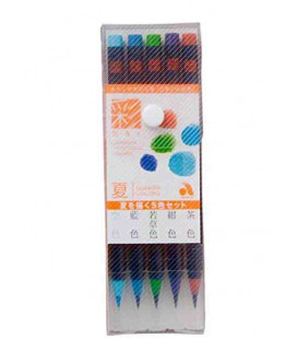 Akashiya Watercolor Brush Pen Sai 5 Colors Set (Summer)