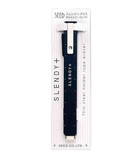 Seed Slendy Plus Eraser Black-Soporte de metal con goma de borrar lápiz y tinta (importado de Japón)