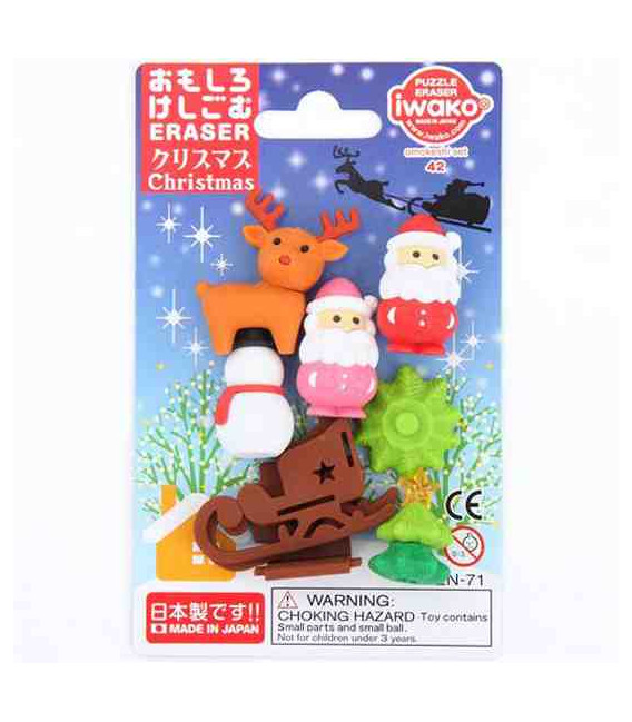 Iwako Puzzle Eraser - Christmas - (Mini-gommes kawaii) Made in Japon