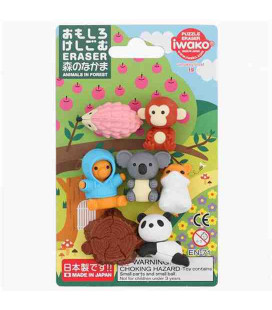 Iwako Puzzle Eraser - Animals in Forest - (Mini-gommes kawaii) Made in Japan
