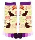 Chaussettes pour femme à cinq doigts - Kurochiku (Kyoto) - Modèle Nekotobara (Taille unique 23-25 cm)