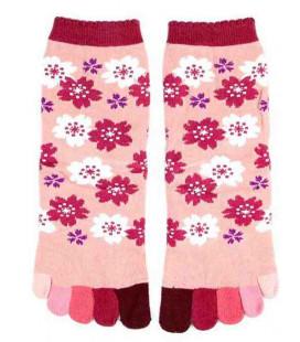 Chaussettes pour femme à cinq doigts - Kurochiku (Kyoto) - Modèle Sakura (Taille unique 23-25 cm)