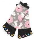 Chaussettes pour femme à cinq doigts - Kurochiku (Kyoto) - Modèle Usagi (Taille unique 23-25 cm)