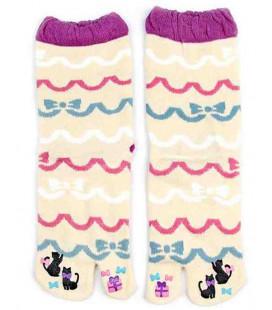 """Chaussettes pour femme """"Tabi"""" à deux doigts - Kurochiku (Kyoto) - Modèle Ribon (Taille unique 23-25cm)"""