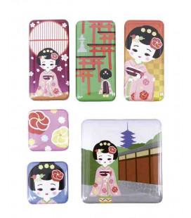 Kurochiku - Pack de 6 aimants décoratifs japonais - Dangochan