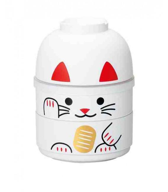 Hakoya Kokeshi Bento - Taille M - Modèle 52677-6 - Maneki-Neko (blanc)