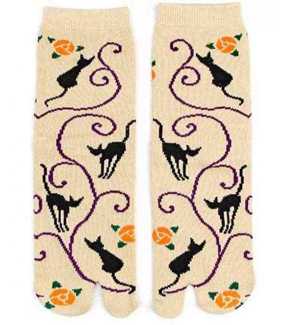 """Chaussettes pour femme """"Tabi"""" à deux doigts - Kurochiku (Kyoto) - Modèle Kuroneko Momo (Taille unique 23-25 cm)"""