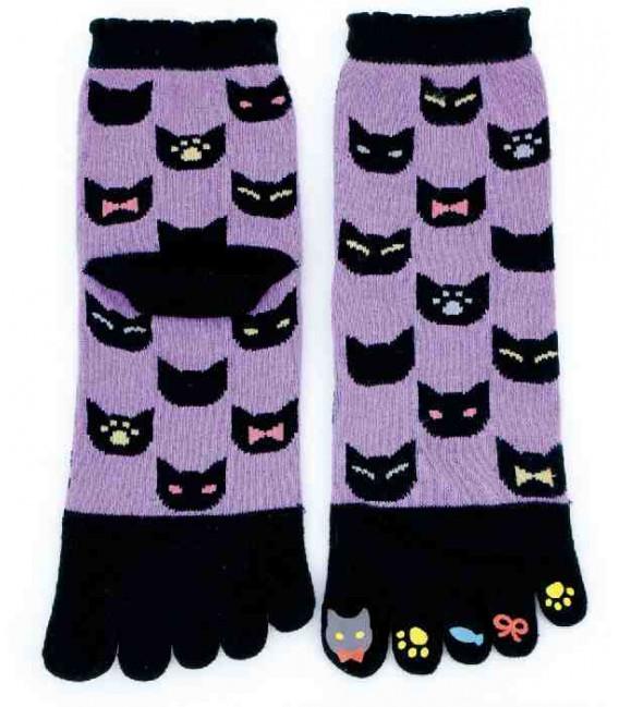 Chaussettes pour femme à cinq doigts - Kurochiku (Kyoto) - Modèle Neko Ichimatsu (Taille unique 23-25 cm)