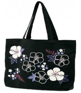 Sac en toile japonais Kurochiku - Modèle Black Flowers - 100% coton