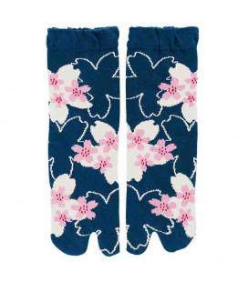 """Chaussettes pour femme """"Tabi"""" à deux doigts - Kurochiku (Kyoto) - Modèle SakuraDukushi (Taille unique 23-25 cm)"""