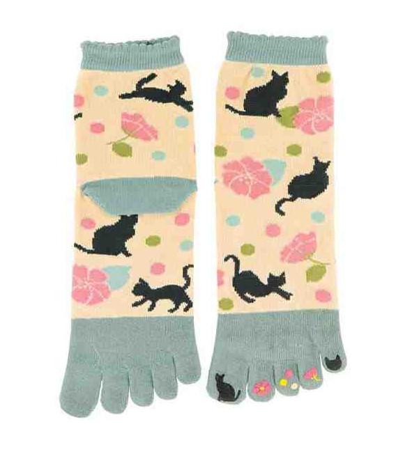Chaussettes pour femme à cinq doigts - Kurochiku (Kyoto) - Modèle Yumemineko (Taille unique 23-25 cm)