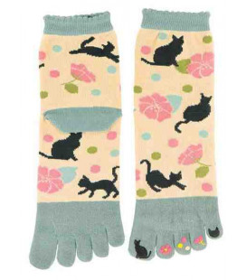 "Calcetines de mujer de ""cinco dedos"" - Kurochiku (Kyoto)- Modelo Yumemineko (Talla única 23-25 cm)"
