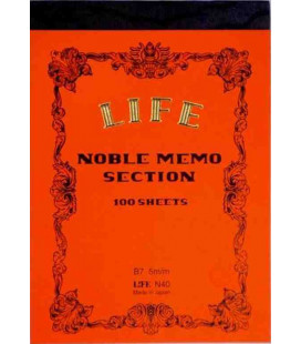 Life Noble Memo - N40 (Format B7 - couleur orange - Carreaux - 100 pages)