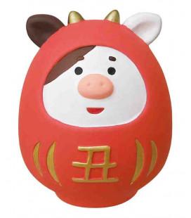 Decole - Daruma rouge en céramique ushi - Concombre Fuku Mono - Modèle ZSG-43703