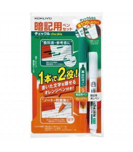 Marqueur double pointe + correcteur + filtre rouge Kokuyo (Vert/Orange)