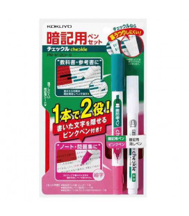 Marqueur double pointe + correcteur + filtre rouge Kokuyo (Vert/Rose)