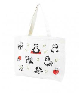 Sac en toile japonais Kurochiku - Modèle Tote Yoga panda - 100% coton