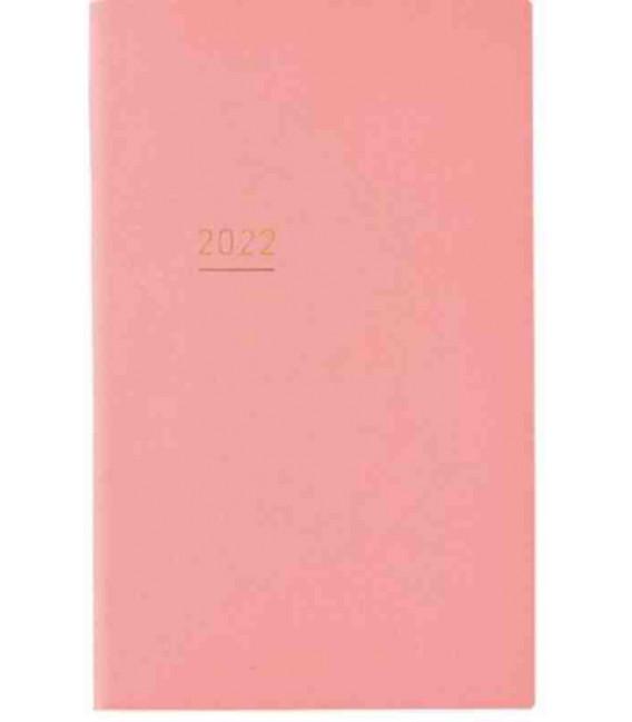 Jibun Techo Kokuyo - Agenda Semainier 2022 - Lite Mini Diary - B6 Slim - Couleur rose