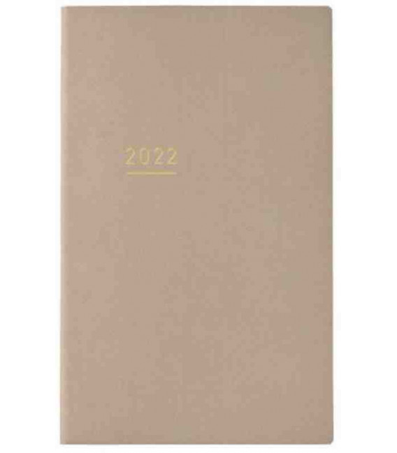 Jibun Techo Kokuyo - Agenda Semainier 2022 - Lite Mini Diary - B6 Slim - Beige
