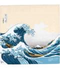 Yamada Seni Musubi - Foulard japonais - Ukiyo-e Under The Wave Off Kanagawa (beige) - 100% Coton