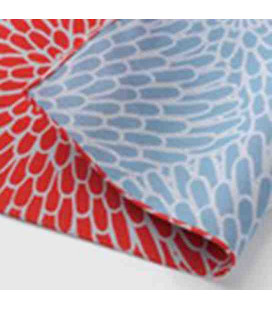 Yamada Seni Musubi - Foulard japonais - Motif Crysanthème Reversible (rouge et bleu)- 100% Coton